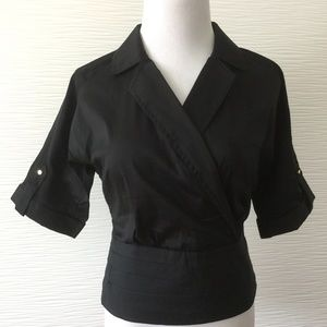 Bebe Short Sleeve Blouse in Black